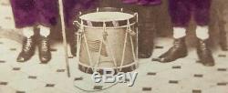 Antique CIVIL War Era Zouave Children Drum Flag Woodwind Ny Rare Fine CDV Photo