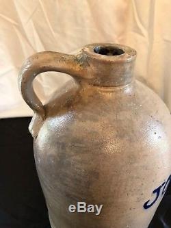 Antique Geddes New York Blue Decorated Stoneware Jug Civil War Era