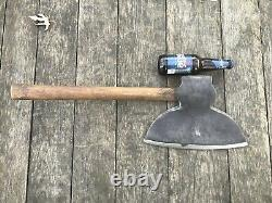 Antique I. Blood Hewing Axe Ballston, NY Pre-Civil War c1824-1851 Broad Axe WOW