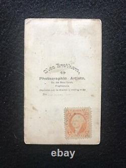 Antique Poughkeepsie New York Civil War Soldier In Uniform Cdv Photo Tax Stamp