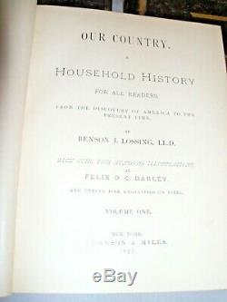 Antique, c 1877, OUR COUNTRY by Benson Lossing, Civil War, First Edition, 3 Vol