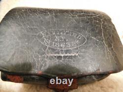 Authentic Civil War Union Leather Cartridge Box w imprinted Navy Yard NY 1863