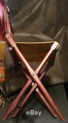 B. J. Harrison NY Original Antique Camp Chair X Frame Civil War Era Folding Seat
