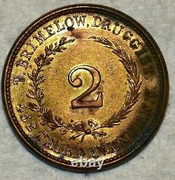 BU Washington/Brimelow, Druggist 2 Brass Civil War Token, NY-630K-8b, R-6