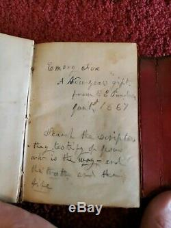 Bible New York American Bible Society small leather Civil War Era 1864 Edt LOT 4