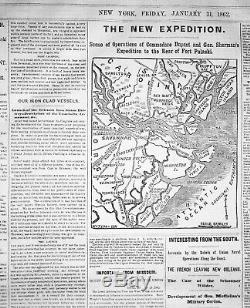 Bound THE NEW YORK HERALD for January 1 thru March 31,1862 Civil War free s&h