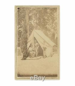 CDV of Early Civil War Camp Scene New York State Militia Officers and Guard