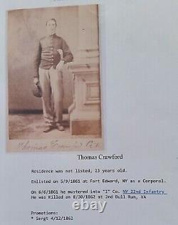 CIVIL WAR CDV SOLDIER I. D. THOMAS CRAWFORD 22nd NEW YORK INFANTRY KIA