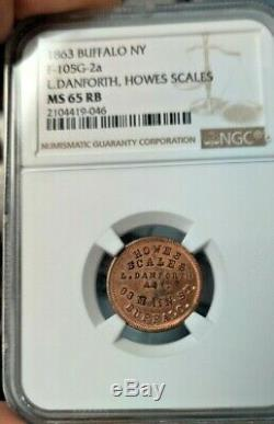CIVIL WAR TOKEN NY F-105G-2a L. DANFORTH HOWES SCALES NGC MS65 RB