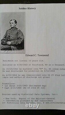 CIVIL War CDV Soldier/officer I. D. Edw. C. Townsend 152 New York Infantry