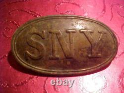 CIVIL War Union State Of New York Cartridge Pouch Emblem Scarce Small Size