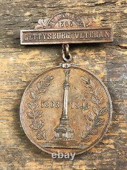 Civil War 1893 Gettysburg Veteran Medal NY 1863 30 Year Anniversary Bronze Rare