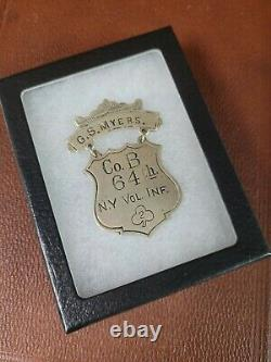 Civil War 64th NY Infantry Ladder Badge Medal Co. B 2nd Corps Named G Myers
