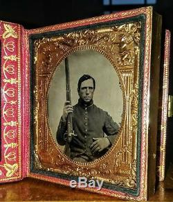 Civil War 6th Pl Tintypes Armed ID'ed New York Soldier Wife With Photo Rare Case