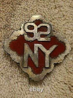Civil War 92nd NY 18th Corps badge 1st Division Red