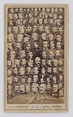 Civil War CDV Collage of 100 Union Generals & Admirals Fredericks, New York
