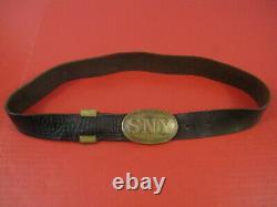 Civil War Era Buff Leather Waist Belt withNew York State Oval Buckle Original