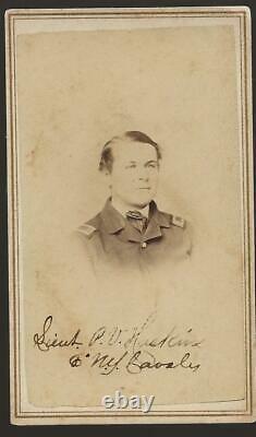 Civil War Era CDV Union Lt Peter V Haskin n2d/6th NY Cavalry Autographed