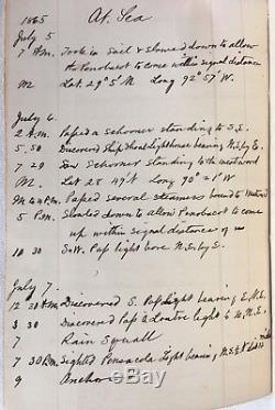 Civil War Handwritten Diary 1865 USS Cayuga End Of Service Galveston To New York