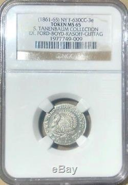 Civil War Merchant Token New York in White Metal NGC MS65 Famous Pedigree UNIQUE
