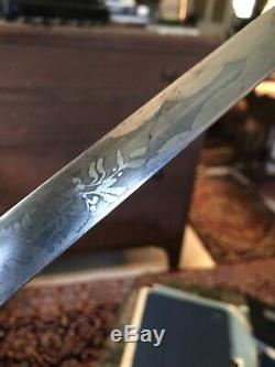 Civil War Militia Officers Sword Baker & McKinney NY Engraved Blade With Scabba