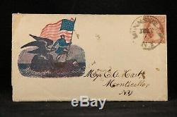 Civil War Munnsville, NY 1861 #26 Patriotic Cover + Letter, Soldier Eagle Flag