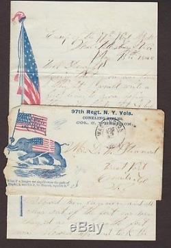 Civil War Peterburg, Va 1864 97th NY Patriotic Cover + HORRIBLE RACIST LETTER