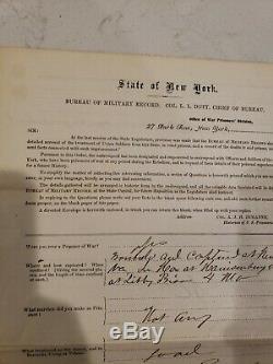 Civil War Prisoner of War Record 1st NY Cavalry New Market Libby Prison WIA POW