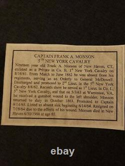 Civil War Relic Eagle Cavalry Button Flag Id'd letter signed Rare 1st 5th NY
