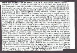 Civil War Soldier Ltr Seely Conover 115th NY POW Camp Parole Annapolis 12 28 64