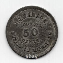 Civil War Sutler Token J. J. Benson Good For 50 Cents 1st Mtd Rifles New York