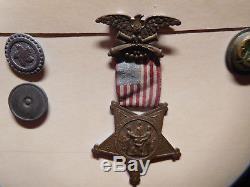 Civil War Tin Type Photo, Medal, Bottons, Samuel Tompkins, 11th N. Y. Cavalry