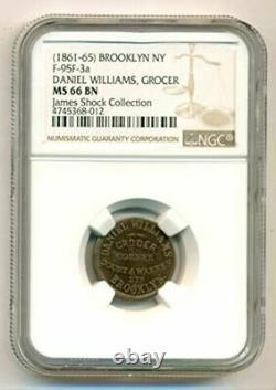 Civil War Token 1861-65 Brooklyn NY Daniel Williams F-95F-3a R6 MS66 BN NGC