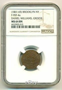 Civil War Token (1861-65) Brooklyn NY Daniel Williams F-95F-4a R5 MS64 BN NGC