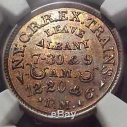 Civil War Token, Albany N. Y. C. R. R. EX Trains, NGC MS63 RB, 10D-1a (R4) Railroad