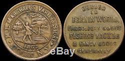 Civil War Token CWT, 1862, Oswego, New York. Marshall Variety Store, Fishing