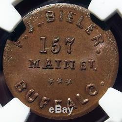 Civil War Token F. J. Bieler, Buffalo NY 105D-2a (R4) MS64 NGC, Primitive Die