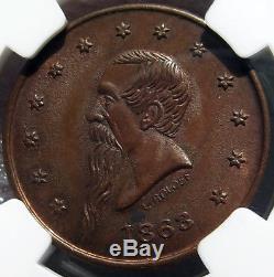 Civil War Token Gustavus Lindenmueller, Beer Mug, 630AQ-4a, MS63 NGC NY