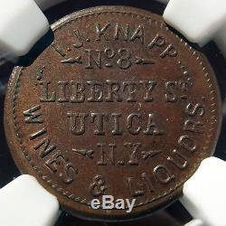 Civil War Token I. J. Knapp, Wines & Liquors, MS65 BN NGC Utica NY 605B-1a R4