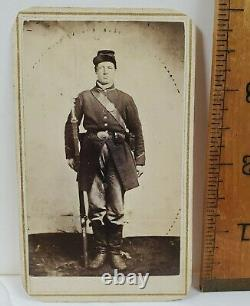 Civil War Union Soldier with Rifle, Cartridge Box, Kepi CDV Photo Owego NY #2