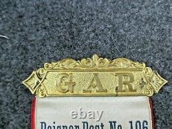 Civil War Veteran 1891 Peisner Post No 106 GAR, DNY Ribbon Rochester New York