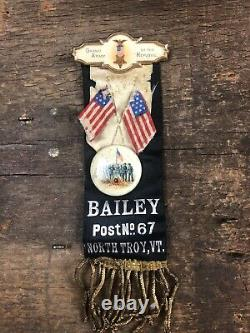 Civil War Veteran Bailey GAR Post No67 North Troy NY Memorial Ribbon Medal Badge