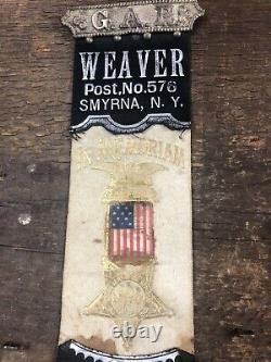 Civil War Veteran Weaver GAR Post No. 576 Smyrna NY Memorial Ribbon Medal Badge