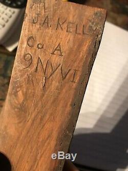 Civil War Walnut Cribbage Board Carved J. A. Kelly Co. A 9 NY VI Hawkins Zouaves