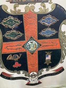 Civil War service record escutcheon 57th & 61st NY Infantry M. Connelly Musician