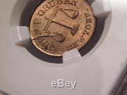 Civil war token New York, New York struck over Indian cent