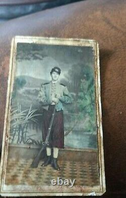 Color Tinted Armed Civil War CDV of Zouave or Cadet, Poughkeepsie, New York logo
