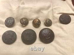 Dug Lot of Civil War Buttons- SC, NY and CT State Seals and Eagle C and I button