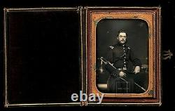 Early Civil War Soldier Armed & ID'd Tinted 1/4 Daguerreotype by Anson New York