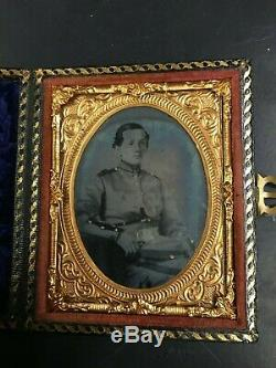Exceedingly Rare New York 9th Plate Ambrotype Full Case Civil War Outstanding